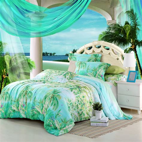 Palm Tree Bedding Sets Blue Green Turquoise Bedding Sets King Size Palm Tree Silk Quilt Duvet Cover Designer