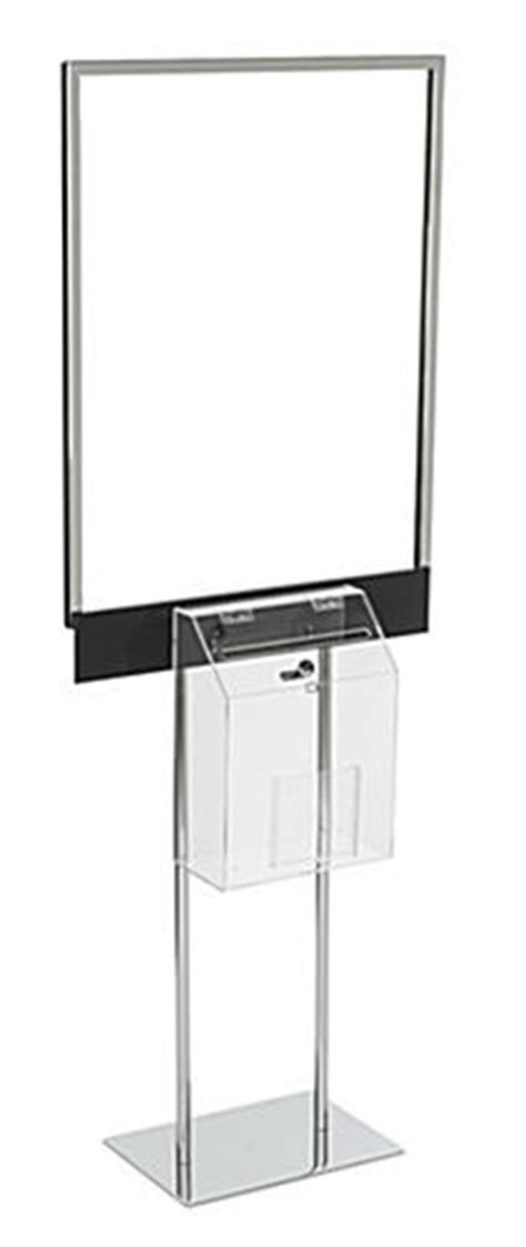 Sweepstakes Box - silver sign stand with sweepstakes box double sided