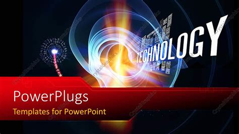 Powerpoint Template Technology Words And Abstract Forms On The Subject Of Progress In Modern Technology Ppt Template