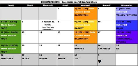 Calendrier Du Sportif Programme Sportif Du Mois De D 233 Cembre Spartak Lillois