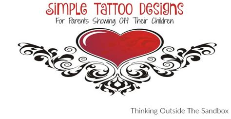 simple tattoo designs for parents showing off their