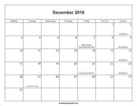 December 2018 Printable Calendar December 2018 Calendar Printable With Holidays Pdf And Jpg