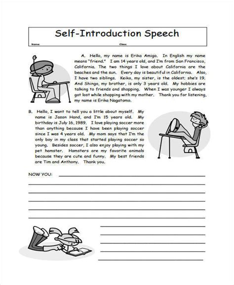 5 Introduction Speech Exles Sles Pdf Exles Of Self Introduction Speech