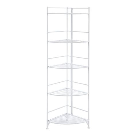 new white metal corner etagere 5 shelf folding stand home