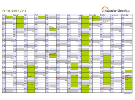 Kalender 2016 Quer Ferien Berlin 2016 Ferienkalender Zum Ausdrucken