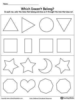 printable sorting shapes sorting shapes worksheet for kindergarten identify which