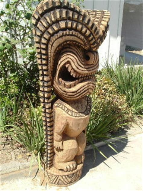 Palm Tiki Wood Sculptor Richard M Howell Oceanic Wood Carving