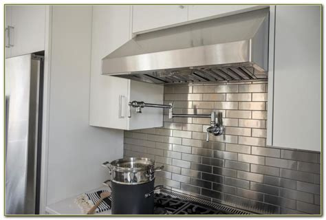 kitchen backsplash stainless steel tiles stainless steel subway tile backsplash tile design ideas