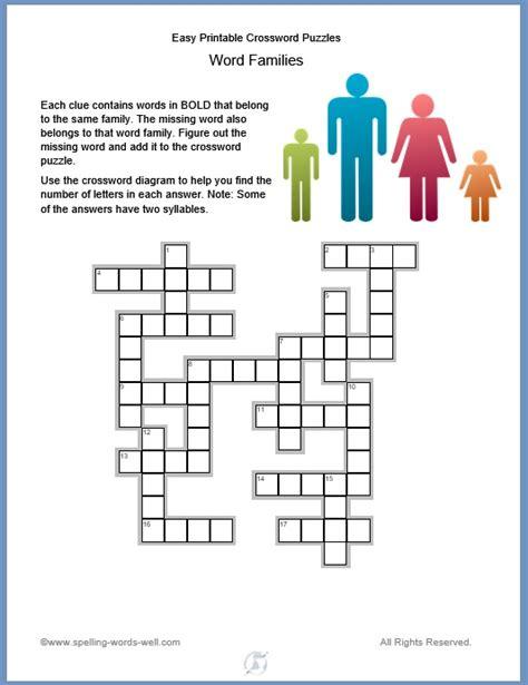 Easy Crossword Puzzles Printable