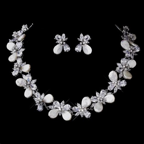 cz pearl bridal jewelry set bridal wedding