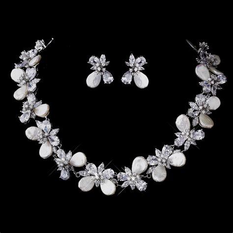 Pearl Wedding Earrings – Elegant Vine CZ & Tear Drop Pearl Bridal Earrings E 3043