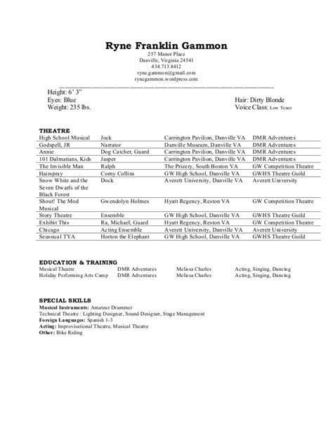 Theatre Resume Rgammon High School Theatre Resume Template