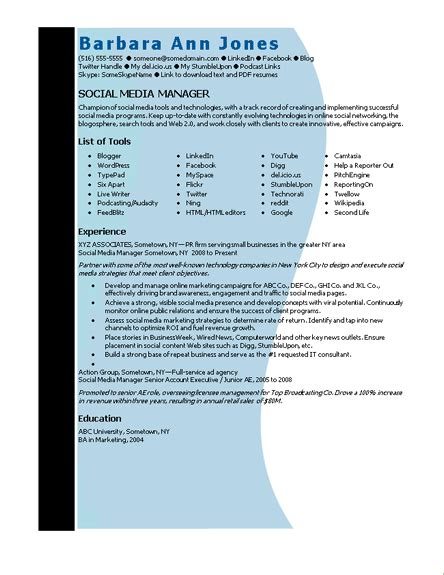 Microsoft Work Resume Template by Microsoft Word Social Media Manager Resume Template