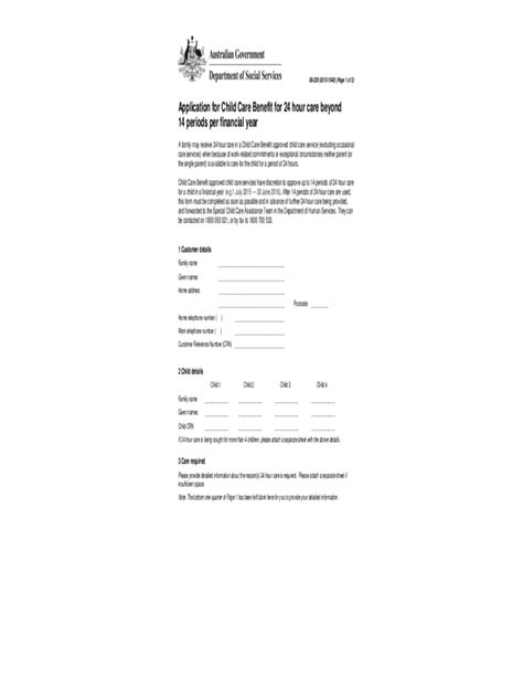 Child Tax Credit Application Form Pdf Child Care Rebate Form 3 Free Templates In Pdf Word Excel