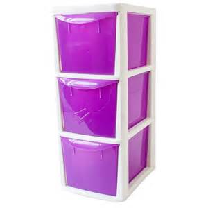 3 drawer plastic storage unit medium grey purple