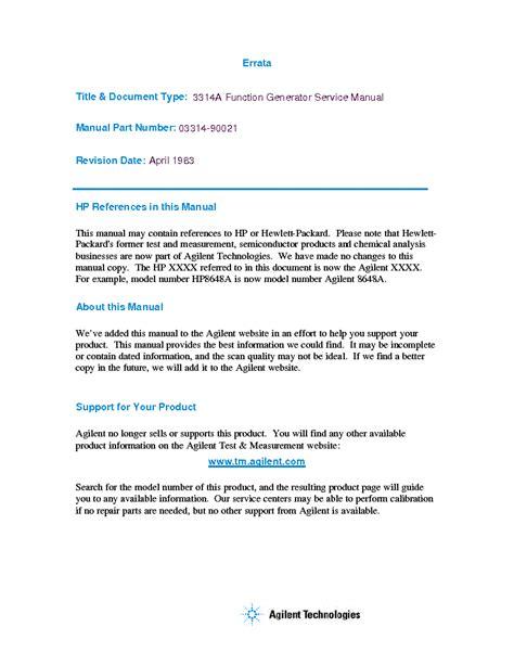 Hp Agilent Technologies 3314a Function Generator Vol1