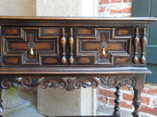 english barley twist legs foyer buffet sofa hall accent antique victorian english carved oak wine server buffet