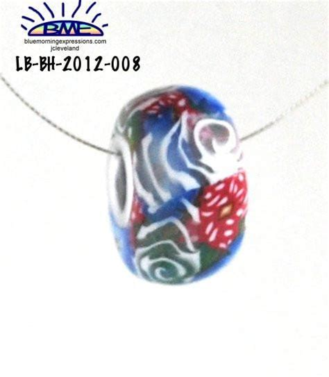 Handmade Polymer Clay Jewelry For Sale - white and blue flower big bead for style