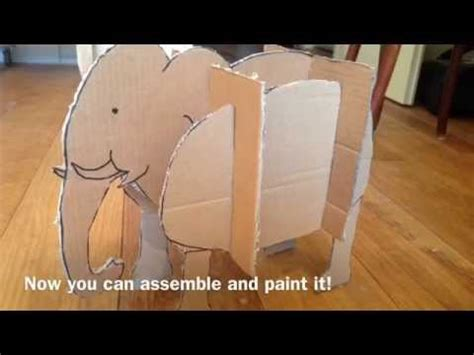 How To Make A 3d Box Out Of Construction Paper - 3d cardboard elephant