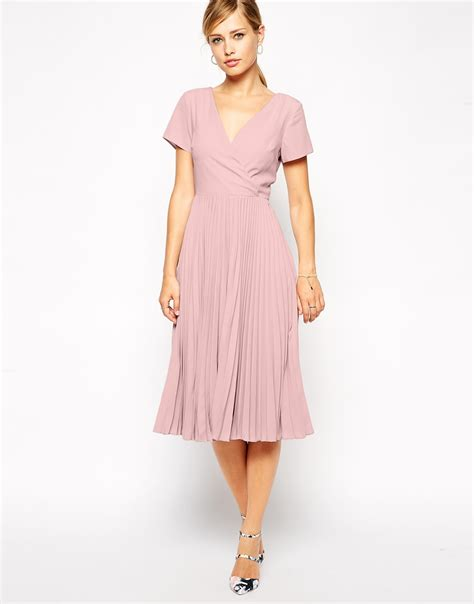 Fashions A30784 Midi Dress Pink asos midi skater dress with pleated skirt and wrap front in pink lyst