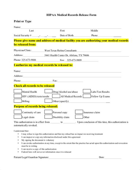 Hipaa Release Letter Sle Hipaa Release Forms 10 Free Documents In Pdf