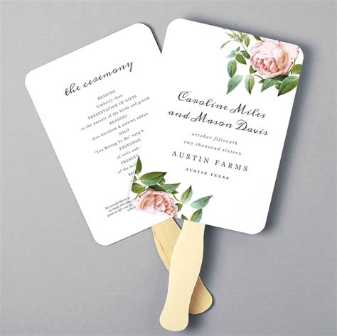 printable fan program fan program template wedding fan