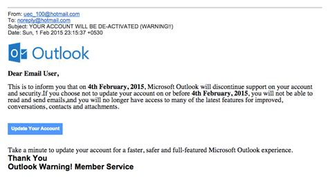 Beware Of Outlook Com Phishing Scam The Working Mouse Spam Warning Email Template