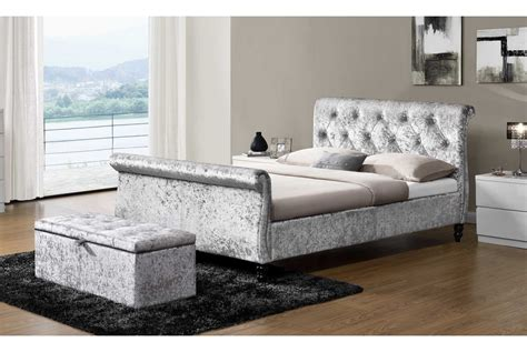 westminster silver crushed velvet sleigh bed or