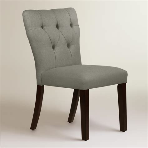 Linen Tufted Dining Chairs Linen Tufted Gabie Dining Chair World Market