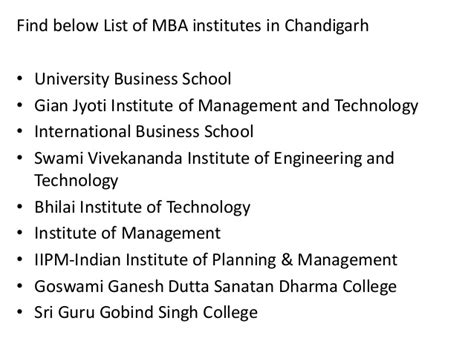 Mba In Chandigarh by List Of Mba Institutes In Chandigarh