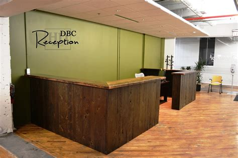 Custom Reclaimed Wood Reception Desk In Kitchener Office Wood Reception Desk
