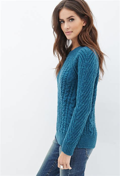 forever 21 cable knit sweater forever 21 contemporary cable knit sweater in blue lyst