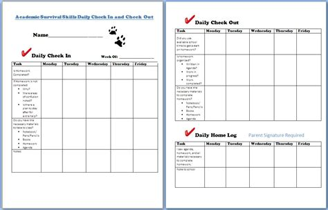 grade check form template checking in and checking out helping students stay on