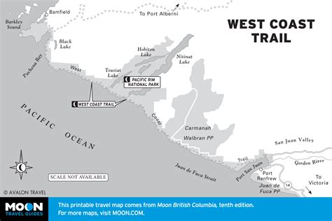 map of the west west coast trail map