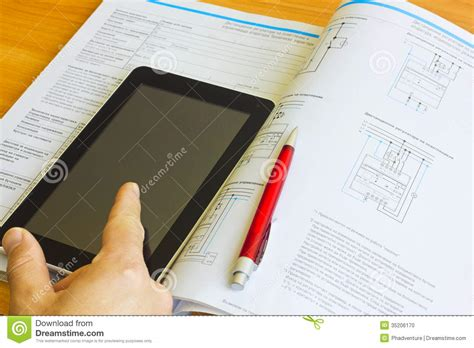 engineering design graphics journal tablet computer over engineering journal stock photo