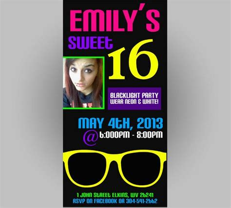 Neon Blacklight Sweet 16 Party Invitation Template 4x8 8 99 Save The Date Pinterest 4x8 Invitation Template