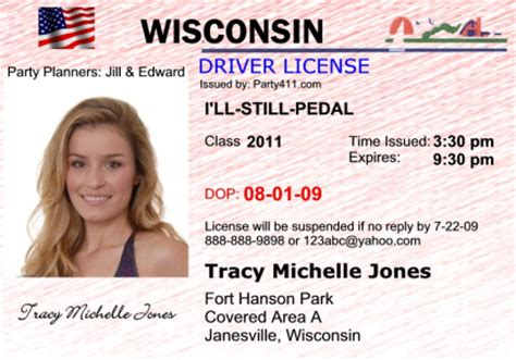 wisconsin drivers license template personalized driver s license invitations and birth