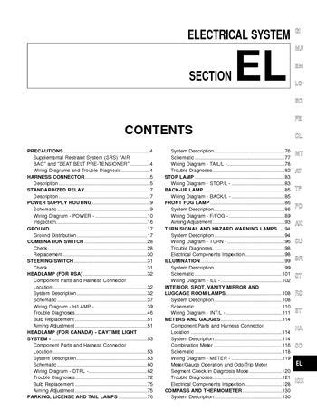 electric and cars manual 2001 nissan pathfinder lane departure warning 2001 nissan pathfinder electrical system section el pdf manual 394 pages