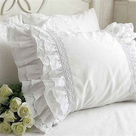 White Lace Pillow Shams by Ruffle Eyelet Lace Pillow Sham Pillow