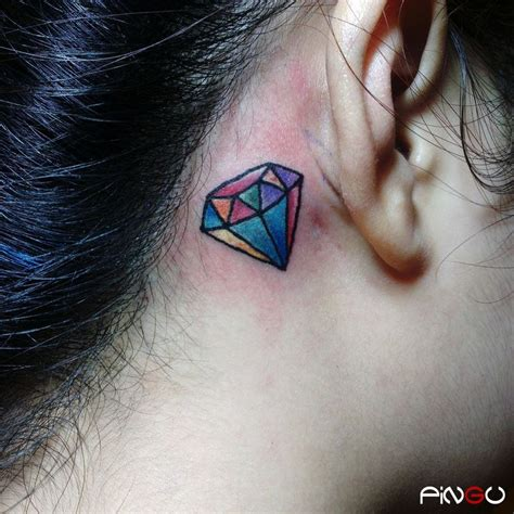 rainbow tattoo behind ear diamond behind the ear bravetattoo tattoos pingu
