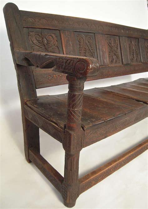 oak settle bench carved english oak settle or bench at 1stdibs