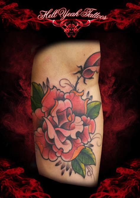 new school rose tattoo arm new school flower by hellyeah tattoos