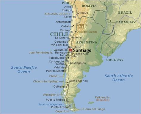 south america map chile map of santiago chile south american countries and