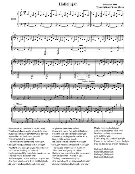 printable lyrics hallelujah alexandra burke alexandra burke hallelujah piano sheet music free pdf