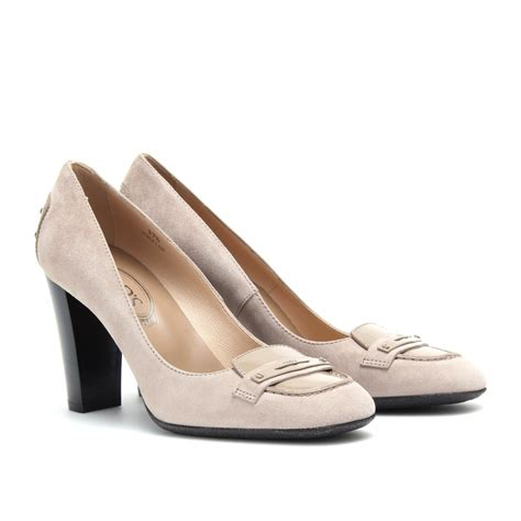 s loafer pumps tod s jodie suede loafer pumps in lyst