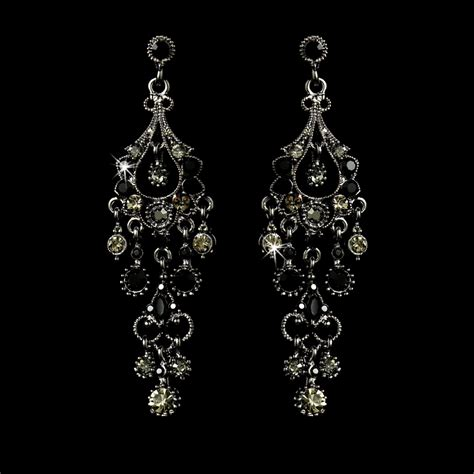 Antique Chandelier Earrings A Touch Of Class Creations Quot Promise Quot Antique Silver Chandelier Earrings Black
