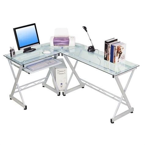 Techni Mobili Dachia L Shape Glass Top Computer Desk Rta L Shaped Desk Glass