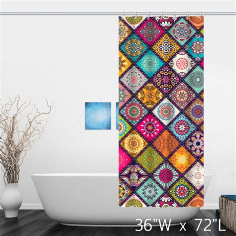 multi colored shower curtain multi colored floral background with mandalas shower