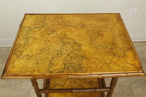 antique bamboo decoupage side table with world maps for