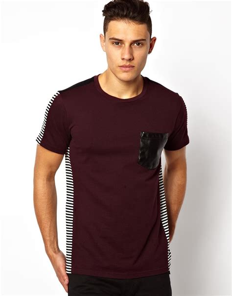 Mens Shirt Izzue izzue back stripe tshirt with faux leather pocket in